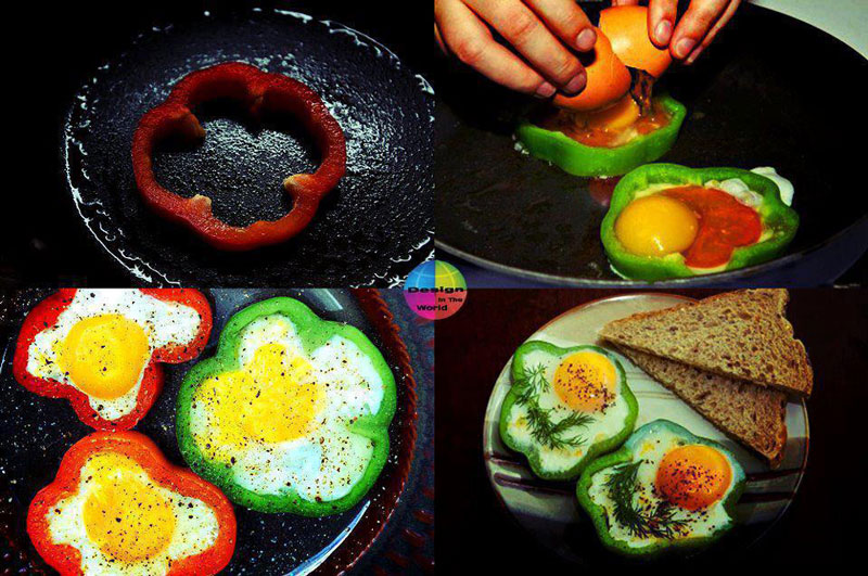 eggs cooked inside red green bell peppers 12 Delicious Dishes Served Inside Other Foods