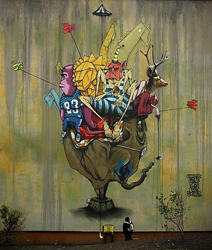 etam cru street art mural circulation bydgoszcz poland 2010 Colossal Street Art by Sainer and Bezt