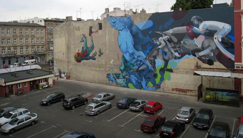 etam satone street art mural lodz poland 2011 2 Colossal Street Art by Sainer and Bezt