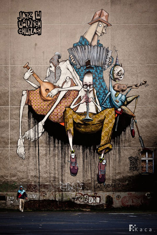 etam street art jazz in free times szczecin poland 2010 Colossal Street Art by Sainer and Bezt