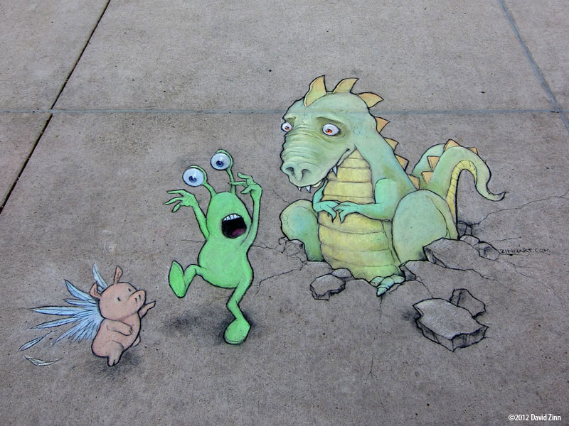 The Incredible 3D Chalk Art of David Zinn