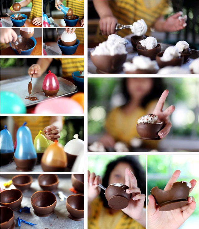 ice cream chocolate bowls made with a balloon 12 Delicious Dishes Served Inside Other Foods