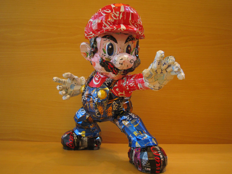 mario made from aluminum cans japanese artist makaon