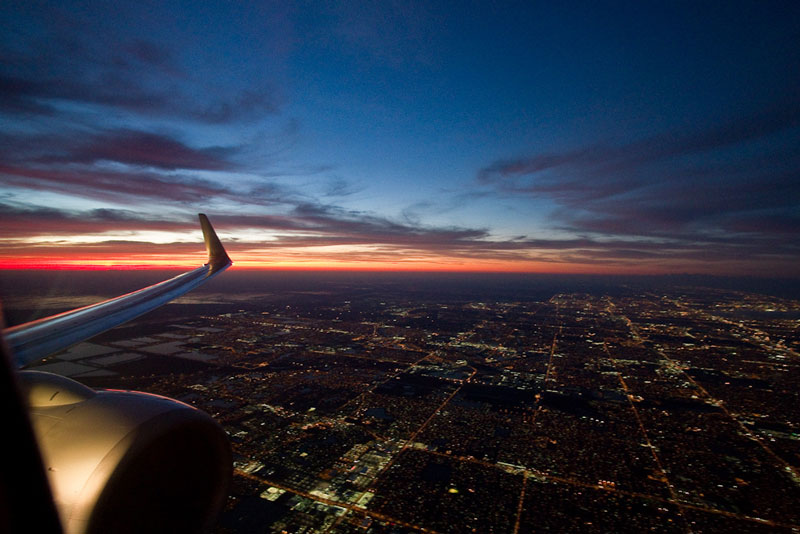 miami florida at night from an airplane window aerial Seeing the World Through an Airplane Window