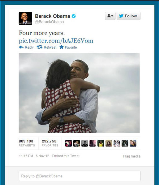 most retweeted photo ever barack obama four more years The Most Liked and Retweeted Photo in History