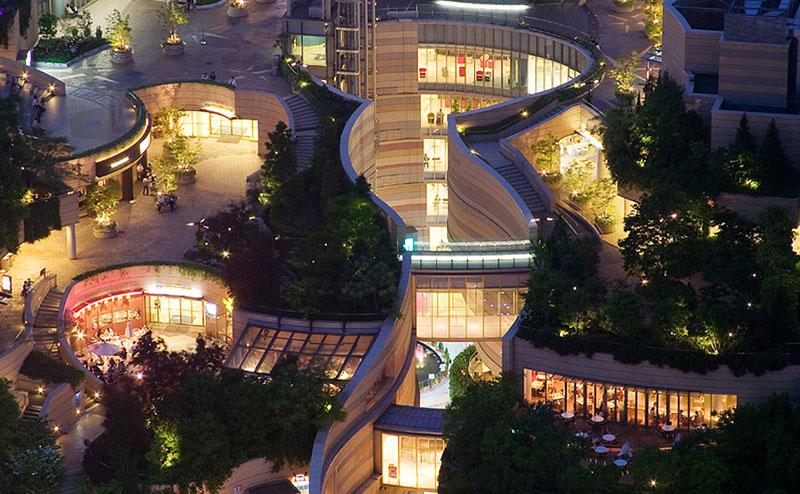 namba parks rooftop garden osaka japan jon jerde 2 The 8 Level Rooftop Park in Osaka, Japan