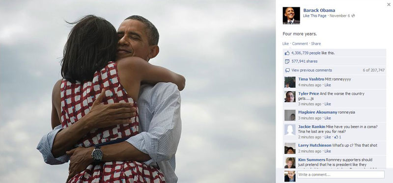 picture of facebook with most likes barack obama four more years The Most Liked and Retweeted Photo in History