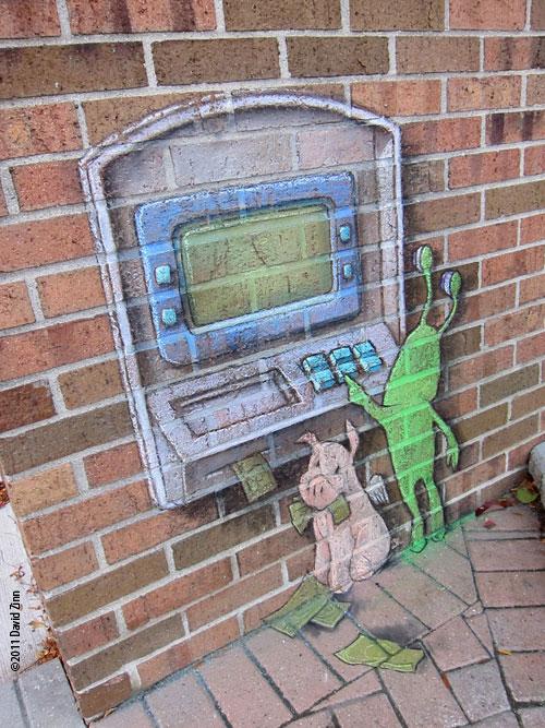 sluggos atm by david zinn The Incredible 3D Chalk Art of David Zinn