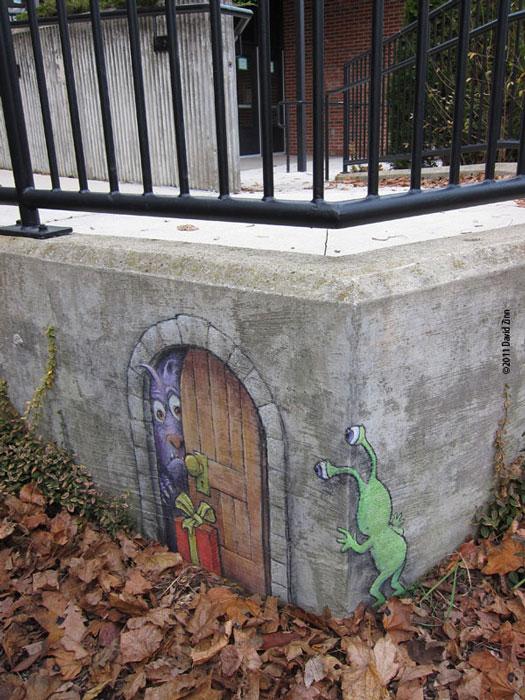 troll gifting by david zinn The Incredible 3D Chalk Art of David Zinn