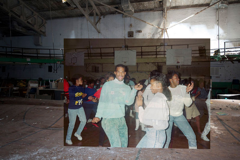 detroit cass tech now and then blended photos into abandoned school building detroit urbex (10)