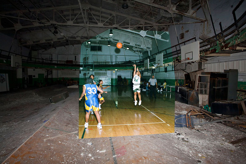 detroit cass tech now and then blended photos into abandoned school building detroit urbex (11)