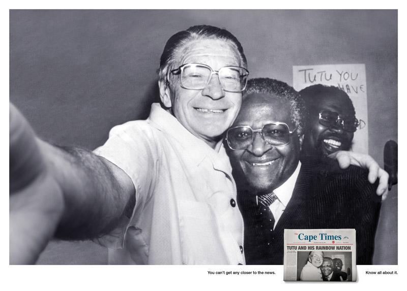 iconic famous photos turned into selfies self portraits desmond tutu