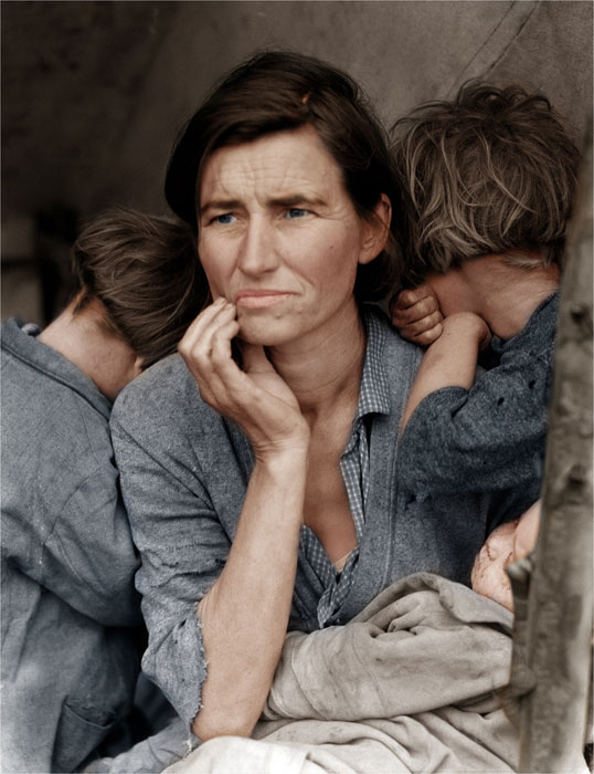 Migrant Mother by Dorothea Lange colorized