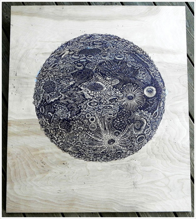 moon carved into wood paul roden valerie lueth tugboat print shop (1)