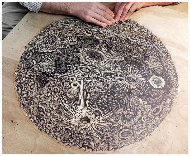 moon carved into wood paul roden valerie lueth tugboat print shop (4)