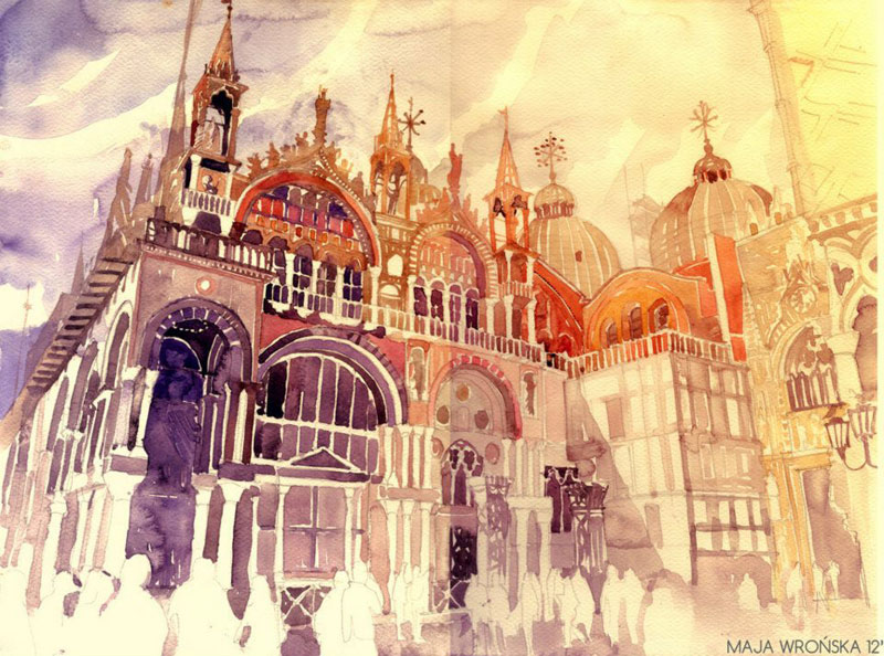 watercolor cityscapes by maja wronska takmaj poland 5 The Chromatic Typewriter