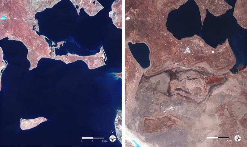 aral sea  landsat satellite image