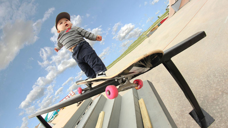 baby on skateboard grinding rail Picture of the Day: Baby on Board
