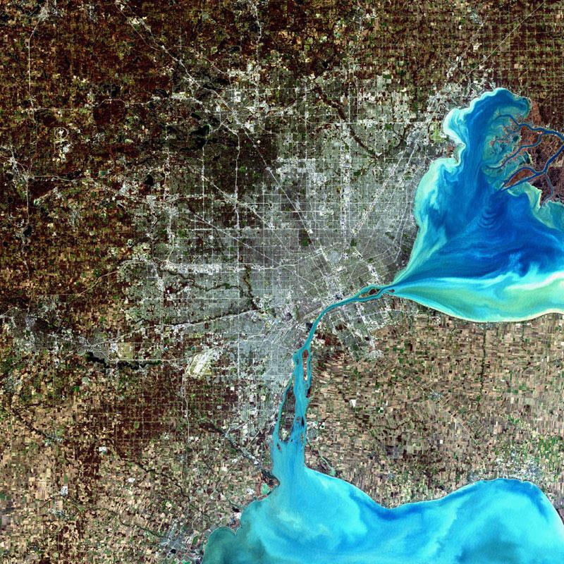 detroit landsat satellite imagae 15 Surreal Satellite Images of Earth