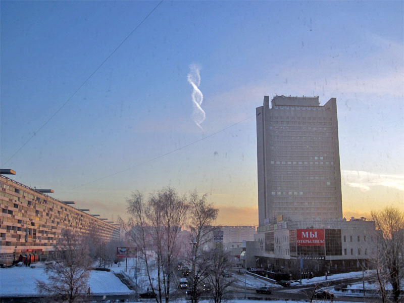 double helix cloud contrail spotted near moscow russia December-24-2012 MUTANT