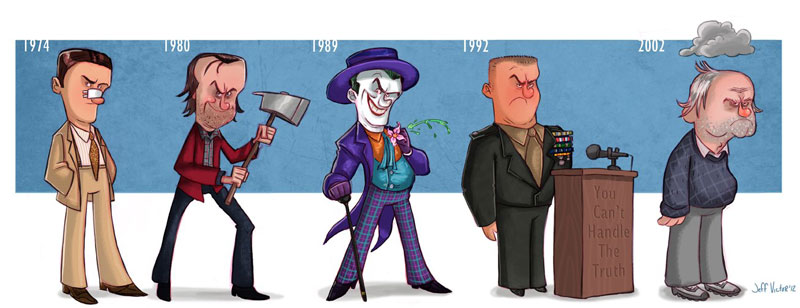 jack nicholson character evolution illustrated by jeff victor The Character Evolutions of Famous Actors