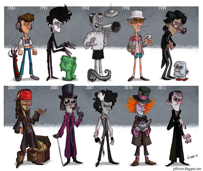 johnny depp character evolution illustrated by jeff victor The Character Evolutions of Famous Actors