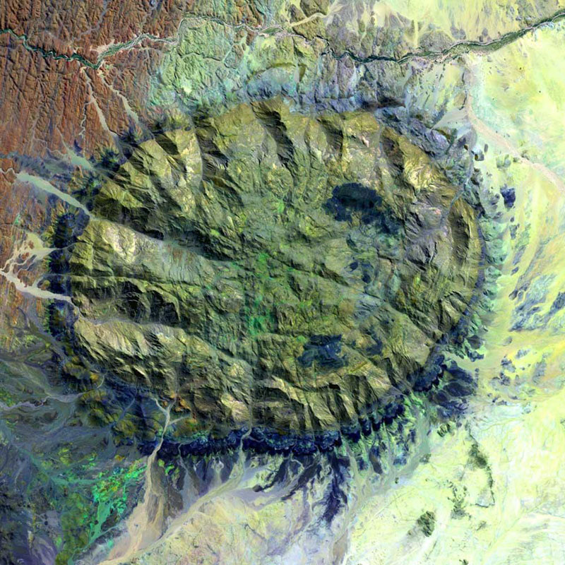 namibia-brandberg massif landsat satellite image