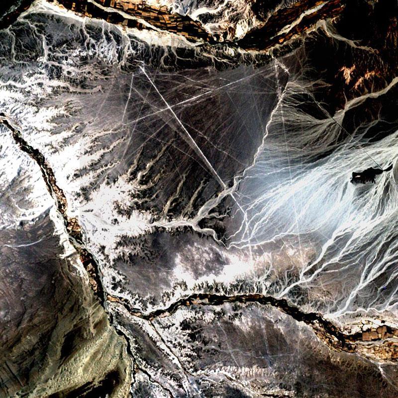 nazca lines peru  landsat satellite image