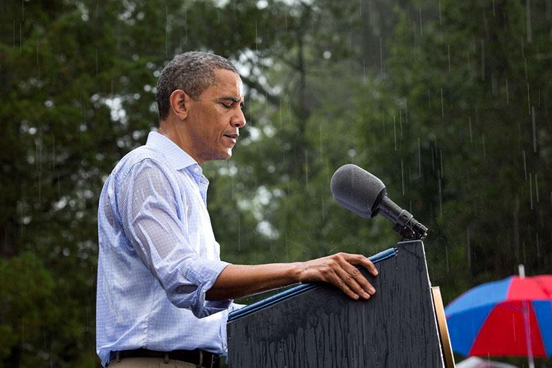 obama talking in the rain