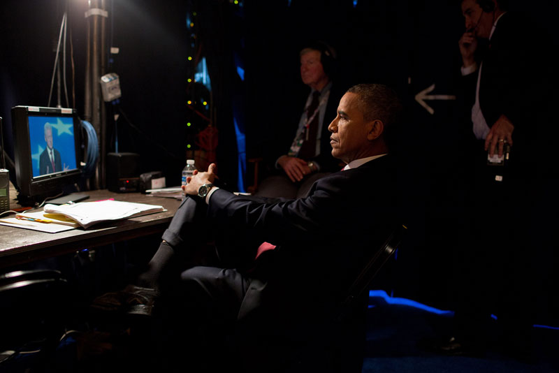 obama watching bill clinton speak