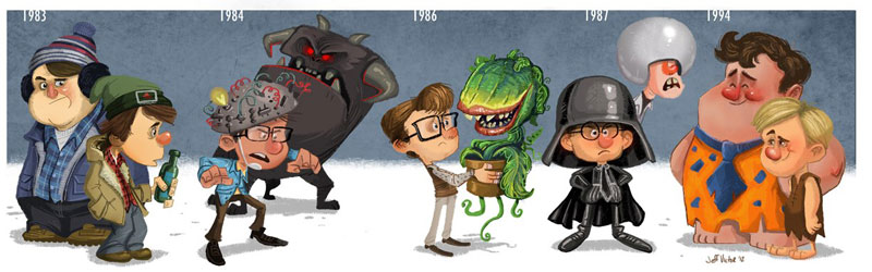 rick moranis character evolution illustrated by jeff victor The Character Evolutions of Famous Actors