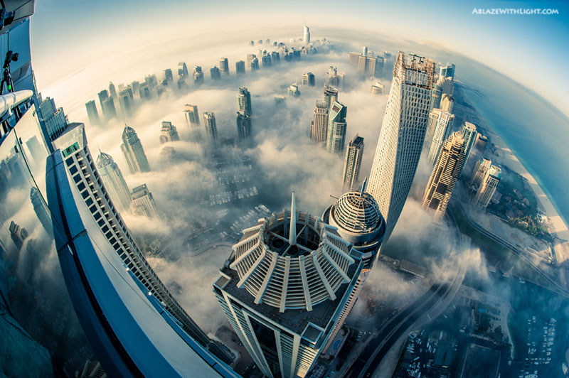 cloud city foggy dubai aerial from above princess tower The Top 25 Pictures of the Day for 2013