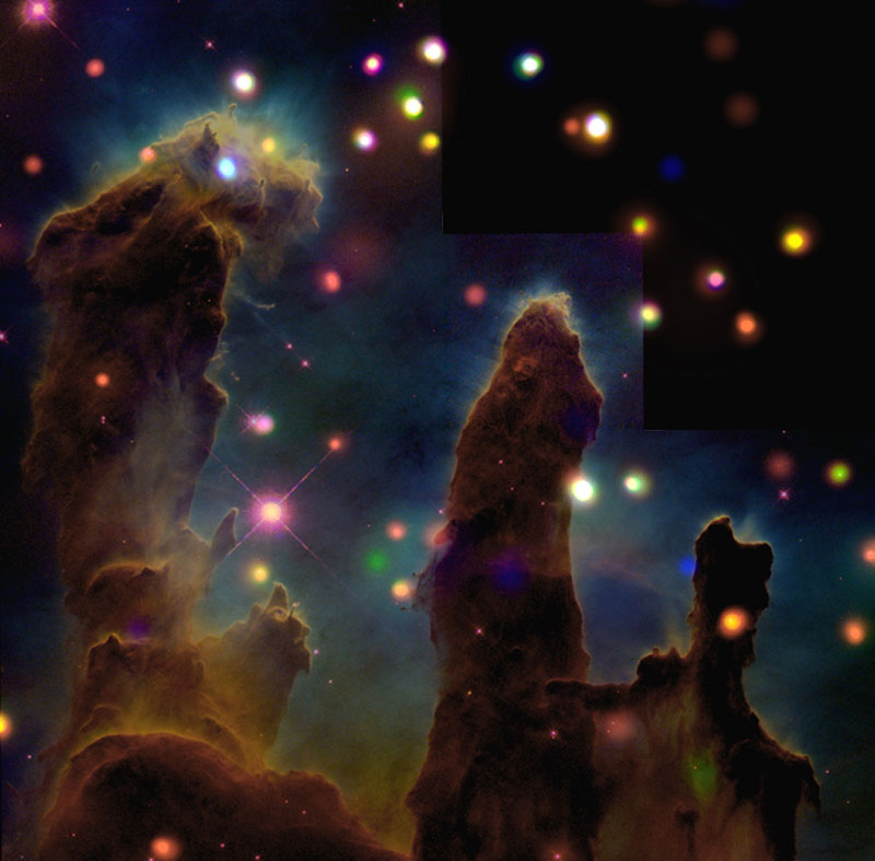 The-Eagle-Nebula-(M16)-Peering-Into-the-Pillars-of-Creation-(A-nearby-star-forming-region-about-7,000-light-years-from-Earth)