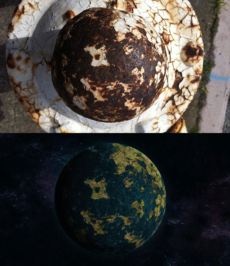 turning tops of rusty fire hydrants into planets (1)
