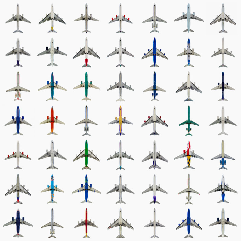 Jeffrey_Milstein_Grid_Typology_49_Commercial_Jets_directly-overhad
