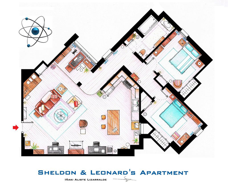 sheldon and leonard s apartment floor plan from tbbt by inaki aliste lizarralde nikneuk Artist Imagines Architecture in the Film Style of Famous Directors