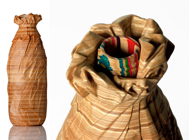 40 oz oe in paper bag made from old skateboard decks haroshi 11 Sculptures Crafted from Old Skateboard Decks