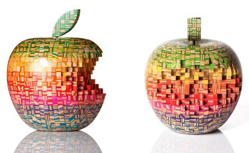 apple made from skateboards haroshi 11 Sculptures Crafted from Old Skateboard Decks