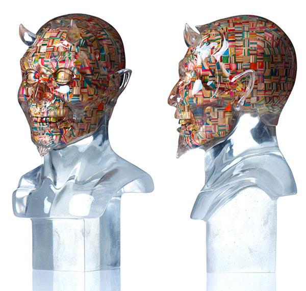 devil face made from old skateboard decks haroshi 11 Sculptures Crafted from Old Skateboard Decks