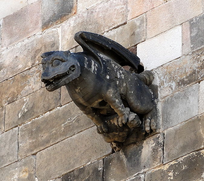 Gargoyle on Cathedral of Santa Eulalia Barcelona Spain