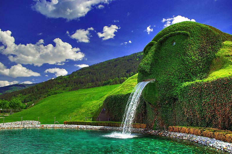 Giant fountain waterspout entrance to the Swarovski Kristallwelten Crystal Worlds in Wattens Austria