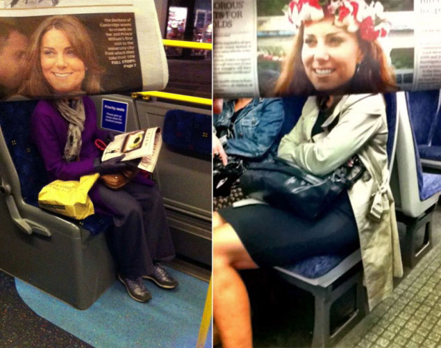 newspaper magazine faces in front of actual people on subway metro tube (2)