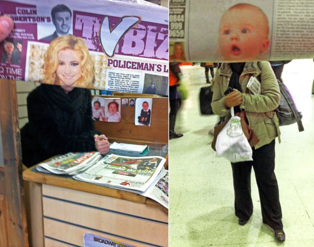 newspaper magazine faces in front of actual people on subway metro tube (5)