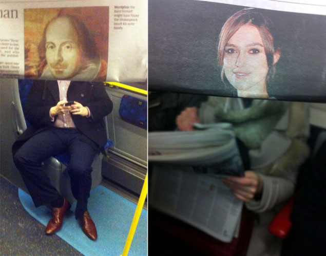 newspaper magazine faces in front of actual people on subway metro tube (7)