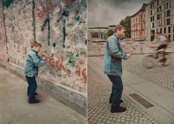 recreating childhood photos irina werning Christoph 1990 & 2011 Berlin Wall