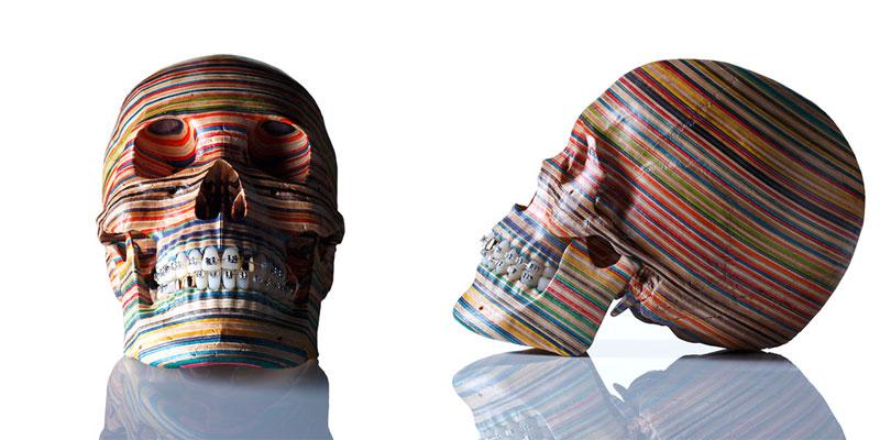 skull made from old skateboard decks haroshi 11 Sculptures Crafted from Old Skateboard Decks