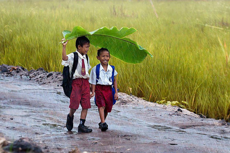 two kids under a banana leaf in the rain indonesia Picture of the Day: Thats What Friends are For