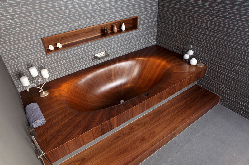 wooden bathtubs all wood baths by alegna 4 Old Sea Mines Repurposed Into Furniture