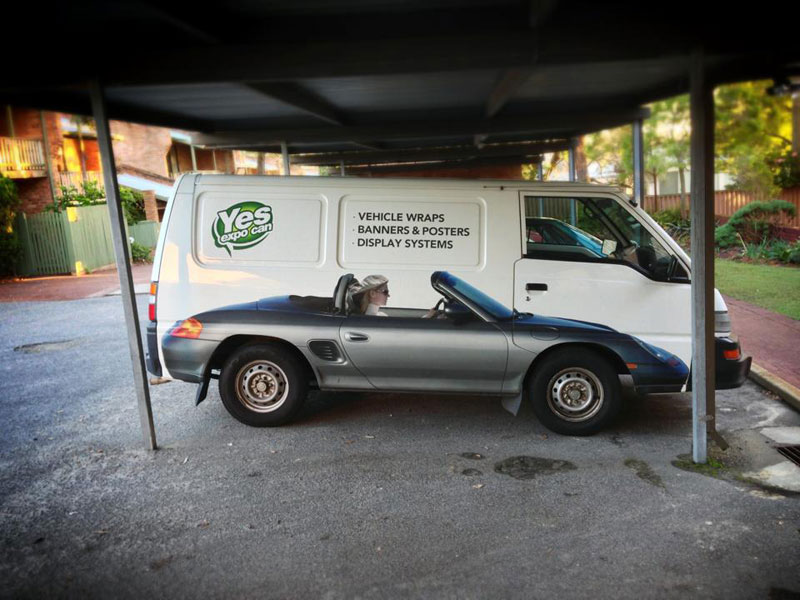 clever vehicle van wrap of convertible sports car The Shirk Report   Volume 216
