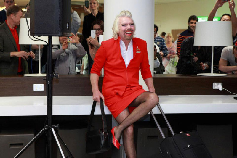 richard branson loses bet dresses as a female stewardess (6)
